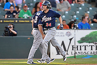 Reno Aces right fielder Danny Dorn (34) scores during pacific coast league baseball game, Friday August 15, 2014 in Round Rock, Tex. Reno defeats Round Rock 11-9 to sweep three game series. (Mo Khursheed/TFV Media via AP Images)