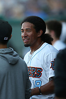 Jahmai Jones (19) of the Inland Empire 66ers in the dugout during a game against against the Rancho Cucamonga Quakes at San Manuel Stadium on July 29, 2017 in San Bernardino, California. Inland Empire defeated Rancho Cucamonga, 6-4. (Larry Goren/Four Seam Images)