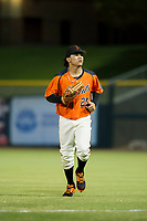 AZL Giants center fielder Ismael Munguia (29) jogs off the field between innings of the game against the AZL Rangers on August 22 at Scottsdale Stadium in Scottsdale, Arizona. AZL Rangers defeated the AZL Giants 7-5. (Zachary Lucy/Four Seam Images via AP Images)