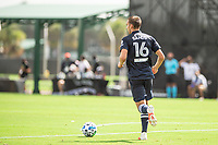 LAKE BUENA VISTA, FL - JULY 9: James Sands #16 of NYCFC dribbles the ball during a game between New York City FC and Philadelphia Union at Wide World of Sports on July 9, 2020 in Lake Buena Vista, Florida.