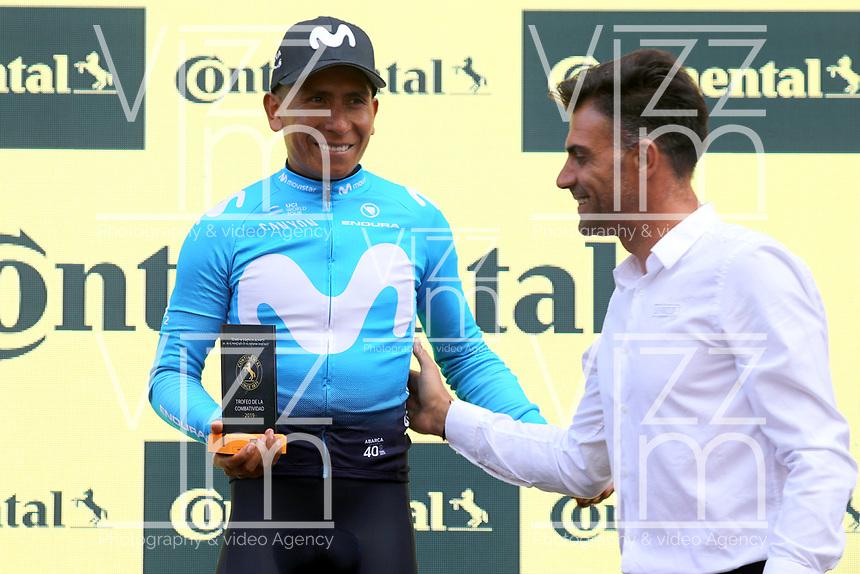 ESPAÑA, 11-09-2019: Nairo Quintana (COL - MOVISTAR) celebra con el premio a la combatividad después de la etapa 17, hoy, 11 de septiembre de 2019, que se corrió entre Aranda de Duero y Guadalajara con una distancia de 219,6 km como parte de La Vuelta a España 2019 que se disputa entre el 24/08 y el 15/09/2019 en territorio español. / Nairo Quintana (COL - MOVISTAR) celebrates with the most combative rider award after stage 17 today, September 11, 2019, from Aranda de Duero to Guadalajara with a distance of 219,6,5 km as part of Tour of Spain 2019 which takes place between 08/24 and 09/15/2019 in Spain.  Photo: VizzorImage / Luis Angel Gomez / ASO<br /> VizzorImage PROVIDES THE ACCESS TO THIS PHOTOGRAPH ONLY AS A PRESS AND EDITORIAL SERVICE AND NOT IS THE OWNER OF COPYRIGHT; ANOTHER USE HAVE ADDITIONAL PERMITS AND IS  REPONSABILITY OF THE END USER