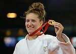 Wales Natalie Powell celebrates winning gold<br /> <br /> Photographer Ian Cook/Sportingwales<br /> <br /> 20th Commonwealth Games - Judo -  Day 3 - Saturday 26th July 2014 - Glasgow - UK
