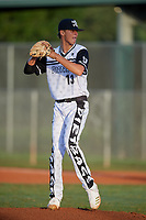 Austin Gordon (13) during the WWBA World Championship at Terry Park on October 10, 2020 in Fort Myers, Florida.  Austin Gordon, a resident of Myrtle Beach, South Carolina who attends Myrtle Beach High School, is committed to Clemson.  (Mike Janes/Four Seam Images)