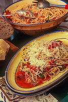 Spaghetti recipe made with home grown tomatoes and basil, Michele Anna Jordon