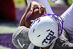 TCU Horned Frogs quarterback Kenny Hill (7) in action during the game between Iowa State Cyclones and the TCU Horned Frogs at the Amon G. Carter Stadium in Fort Worth, Texas.