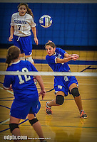 27 October 2013: Yeshiva University Maccabee Setter Shaina Hourizadeh, a Freshman from Englewood, NJ, in action during a Skyline Conference game against the Purchase College Panthers at the College of Mount Saint Vincent in Riverdale, NY. The Panthers defeated the Maccabees 3-0 in NCAA women's volleyball play. Mandatory Credit: Ed Wolfstein Photo *** RAW (NEF) Image File Available ***