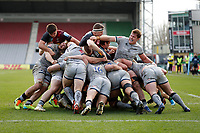 20th February 2021; Twickenham Stoop, London, England; English Premiership Rugby, Harlequins versus Sale Sharks; Harlequins players and Sale Sharks players in a scrum near the try line