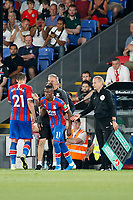Wilfried Zaha of Crystal Palace is introduced during the Carabao Cup 2nd round match between Crystal Palace and Colchester United at Selhurst Park, London, England on 27 August 2019. Photo by Carlton Myrie / PRiME Media Images.