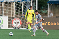 HARTFORD, CT - JULY 10: Joey Zalinsky #85 of New York Red Bulls II looks to pass during a game between New York Red Bulls II and Hartford Athletics at Dillon Stadium on July 10, 2021 in Hartford, Connecticut.