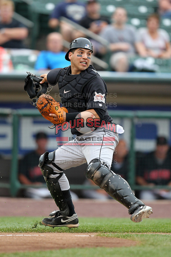 Indianapolis Indians catcher Jason Jaramillo during a game vs. the Rochester Red Wings at Frontier Field in Rochester, New York;  July 17, 2010.   Indianapolis defeated Rochester 10-7.  Photo By Mike Janes/Four Seam Images