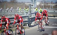 Each team it's specific place in the peloton: Alexander Kristoff (NOR/Katusha) escorted by his teammates<br /> <br /> 107th Milano-Sanremo 2016