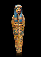 Ancient Egyptian sarcophagus inner coffin of  singer Tabakenkhonsu, Temple of Hatshepsut at Deir el-Bahri. Thebes, 2nd half of 21st Dynasty, 680–670 B.C. Egyptian Museum, Turin. black background.<br /> <br /> The deceased is depicted with her hands rendered in high relief on top of a wesekh collar. a stylistic trait that allows the coffin to be dated from the late 21st Dynsaty. the inner coffin is of great quality depicting mythological scenes derived from the Book of the Dead spells.