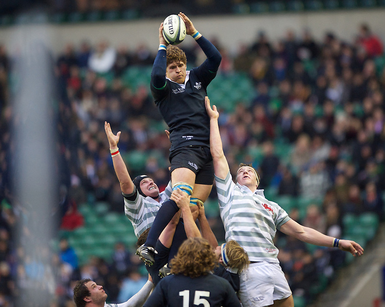 Jason Law of Oxford University wins the lineout during the 131st Varsity Match between Oxford University and Cambridge University at Twickenham on Thursday 06 December 2012 (Photo by Rob Munro)