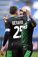 Francesco Caputo of US Sassuolo celebrates after scoring the goal of 2-0 with Domenico Berardi of US Sassuolo <br /> Reggio Emilia 22/09/2019 Stadio Citta del Tricolore <br /> Football Serie A 2019/2020 <br /> US Sassuolo - SPAL <br /> Photo Andrea Staccioli / Insidefoto