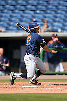 Cal State Fullerton Titans infielder Jerrod Bravo (12) at bat during a game against the Louisville Cardinals on February 15, 2015 at Bright House Field in Clearwater, Florida.  Cal State Fullerton defeated Louisville 8-6.  (Mike Janes/Four Seam Images)