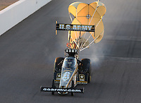Feb. 22, 2013; Chandler, AZ, USA; NHRA top fuel dragster driver Tony Schumacher during qualifying for the Arizona Nationals at Firebird International Raceway. Mandatory Credit: Mark J. Rebilas-