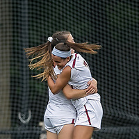 Newton, Massachusetts - October 7, 2018: NCAA Division I. Boston College (white) defeated NC State University (red), 2-0, at Newton Campus Soccer Field.<br /> Goal celebration.