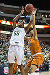 center Imani McGee-Stafford (34)  and point guard Khadijiah Cave (55) in action during Big 12 women's basketball championship final, Sunday, March 08, 2015 in Dallas, Tex. (Dan Wozniak/TFV Media via AP Images)
