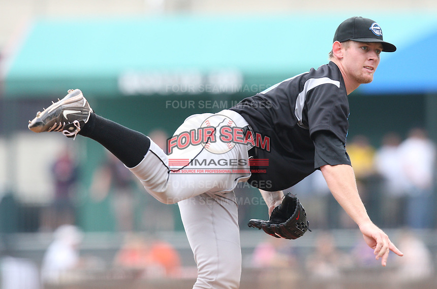 """Syracuse Chiefs starting pitcher Stephen Strasburg (37) delivers a pitch in the fifth inning during a game vs. the Buffalo Bisons at Coca-Cola Field in Buffalo, New York;  Thursday June 3, 2010.  Syracuse defeated Buffalo by the score of 7-1 as Strasburg picked up his fourth win of the season in """"AAA"""".  Photo By Mike Janes/Four Seam Images"""