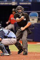 Umpire Ben Sonntag during an Instructional League game between the Boston Red Sox and Tampa Bay Rays on September 25, 2014 at the Tropicana Field in St. Petersburg, Florida.  (Mike Janes/Four Seam Images)