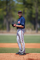 Atlanta Braves pitcher Alan Rangel (32) during a Minor League Spring Training game against the Detroit Tigers on March 22, 2018 at the TigerTown Complex in Lakeland, Florida.  (Mike Janes/Four Seam Images)