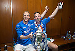 St Johnstone v Dundee United....17.05.14   William Hill Scottish Cup Final<br /> Goal scorers Steven Anderson and Steven MacLean celebrate in the dressing room<br /> Picture by Graeme Hart.<br /> Copyright Perthshire Picture Agency<br /> Tel: 01738 623350  Mobile: 07990 594431