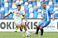 Hirving Lozano of SSC Napoli and Mirko Drudi of SC Pescara compete for the ball<br /> during the friendly football match between SSC Napoli and Pescara Calcio 1936 at stadio San Paolo in Napoli, Italy, September 11, 2020. <br /> Photo Cesare Purini / Insidefoto