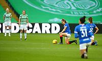 21st April 2021; Celtic Park, Glasgow, Scotland; Scottish Womens Premier League, Celtic versus Rangers; Rangers players take a knee against racism in th egame