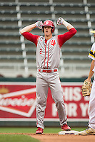Logan Sowers (2) of the Indiana Hoosiers celebrates during a 2015 Big Ten Conference Tournament game between the Michigan Wolverines and Indiana Hoosiers at Target Field on May 20, 2015 in Minneapolis, Minnesota. (Brace Hemmelgarn/Four Seam Images)