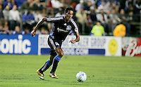 Andre Luiz dribbles the ball. The San Jose Earthquakes defeated the Kansas City Wizards in stoppage time 1-0 at Buck Shaw Stadium in Santa Clara, California on August 22, 2009.
