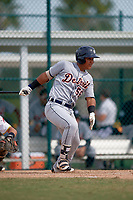 Detroit Tigers Darwin Alvarado (56) at bat during an Instructional League game against the Pittsburgh Pirates on October 6, 2017 at Pirate City in Bradenton, Florida.  (Mike Janes/Four Seam Images)