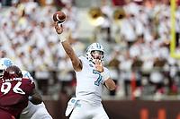 BLACKSBURG, VA - OCTOBER 19: Sam Howell #7 of the University of North Carolina throws a pass during a game between North Carolina and Virginia Tech at Lane Stadium on October 19, 2019 in Blacksburg, Virginia.