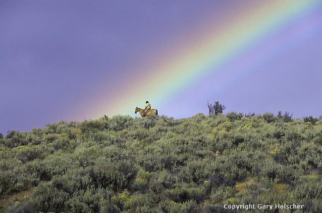 Cowboy on horse w/ rainbow. Ponderosa Ranch. Seneca, OR. MR