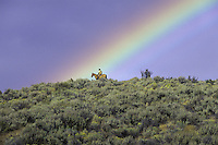 Cowboy on horse w/ rainbow. Ponderosa Ranch. Seneca, OR. MR