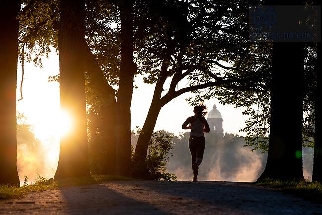 August 7, 2020; St. Mary's Lake jogger (Photo by Matt Cashore/University of Notre Dame)