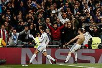 Cristiano Ronaldo (Real Madrid) celebrates his goal which made it (1,3)   UCL Champions League match between Real Madrid vs Juventus at the Santiago Bernabeu stadium in Madrid, Spain, April 11, 2018. *** Local Caption *** © pixathlon<br /> Contact: +49-40-22 63 02 60 , info@pixathlon.de