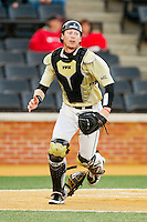 Wake Forest Demon Deacons catcher Brett Armour (6) on defense against the North Carolina State Wolfpack at Wake Forest Baseball Park on March 15, 2013 in Winston-Salem, North Carolina.  The Wolfpack defeated the Demon Deacons 12-6.  (Brian Westerholt/Four Seam Images)