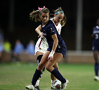CHAPEL HILL, NC - NOVEMBER 29: Julia Dorsey #7 of the University of North Carolina is challenged by Tara McKeown #13 of the University of Southern California during a game between University of Southern California and University of North Carolina at UNC Soccer and Lacrosse Stadium on November 29, 2019 in Chapel Hill, North Carolina.