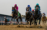 MAY 18: Anothertwistafate with Jose Ortiz up jumps the tram tracks as he races next to Market King with Javier Castellano and Warriors Charge in the Preakness Stakes at Pimlico Racecourse in Baltimore, Maryland on May 18, 2019. Evers/Eclipse Sportswire/CSM