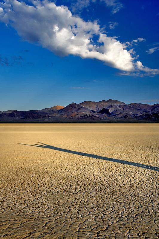 Human shadow on Black Rock Desert National Conservation Area. Nevada