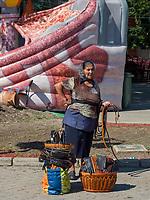Händler   beim Traubenfest, Vrsac, Vojvodina, Serbien, Europa<br /> Vendor at the wine-festival, Vrsac, Vojvodina, Serbia, Europe