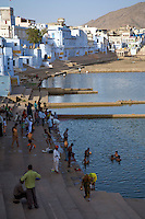 Pushkar is a town in the Ajmer district in the Indian state of Rajasthan. It is situated about 10km northwest of Ajmer and about 150 kilometres (93mi) southwest of Jaipur. <br /> It is a site for Hindus and Sikhs. Pushkar has many temples. Most of the temples and ghats in Pushkar are from the 18th century and later, because many temples were destroyed during Muslim conquests in the area.Subsequently, the destroyed temples were rebuilt. The most famous among Pushkar temples is the red spired Brahma Temple built during the 14th century CE. It is considered a sacred city by the Hindus particularly in Shaktism. Meat and eggs consumption are forbidden in the city