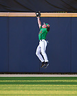 June 5, 2021; Center fielder TJ Williams (6) makes a leaping catch for an out in Notre Dame's 26-3 win over UConn in the NCAA Baseball regional tournament at Eck Baseball Stadium. (Photo by Matt Cashore/University of Notre Dame)