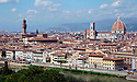 Piazzale Michelangelo is a square above the city with an amazing panoramic view of Florence, Italy.