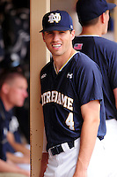Notre Dame Fighting Irish shortstop Lane Richards (4) prior to a game versus the Boston College Eagles at Pellagrini Diamond at Shea Field on May 15, 2015 in Chestnut Hill, Massachusetts.  (Ken Babbitt/Four Seam Images)