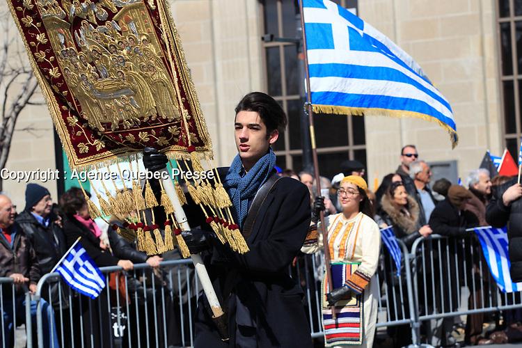 defile de la Fete national grecque<br /> , le 29 mars 2015<br /> <br /> PHOTO :  Agence Quebec Presse