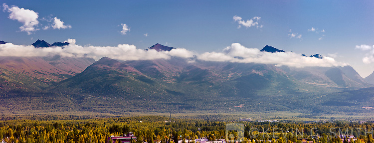 The Chugach Mountains as seen from Downtown Anchorage, Fall, Anchorage, Southcentral Alaska, USA.