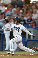Yosbel Gutierrez #19 of the Hillsboro Hops bats against the Spokane Indians at Hillsboro Ballpark on July 22, 2013 in Hillsboro Oregon. Spokane defeated Hillsboro, 11-3. (Larry Goren/Four Seam Images)
