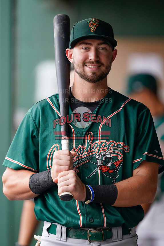 Infielder Jared Triolo (19) of the Greensboro Grasshoppers poses for a portrait before a game against the Greenville Drive on Friday, July 23, 2021, at Fluor Field at the West End in Greenville, South Carolina. (Tom Priddy/Four Seam Images)