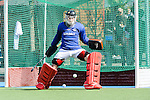 Mannheim, Deutschland, March 30: Andreas Spaeck #1 of the Mannheimer HC warms up before the match between the Mannheimer HC and Blau-Weiss Berlin on March 30, 2014 at Mannheimer Hockey Club in Mannheim, Deutschland. Final score 2:1 (1:0) (Photo by Dirk Markgraf / www.265-images.com) *** Local caption ***